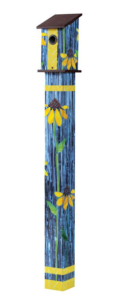 Coneflower Art Glass 5' Birdhouse Art Pole