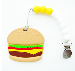 Burger Silicone Teether With Holder