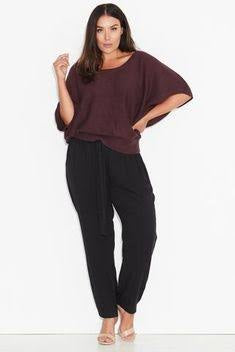 17 Sundays Textured Stitch Cocoon Knit Top Plum - XL