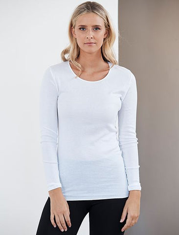 Cotton Seamless Long Sleeve Top White