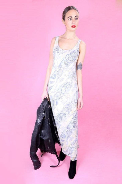 Loot Vintage Dress Pastel Paisley Maxi Dress