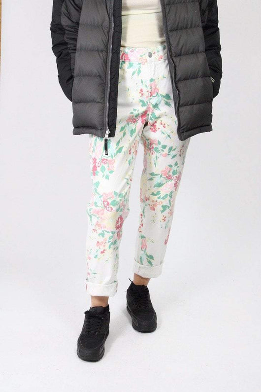 Loot Vintage Jeans 14 / white Floral Jean
