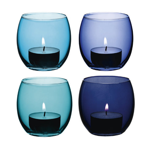 LSA Coro Lagoon Set of 4 Tealight Holders 6.5cm