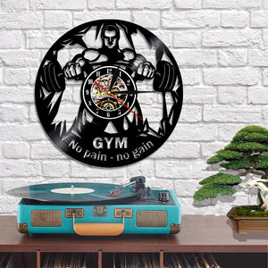 Vinyl Record Wall Clock - Gym Style