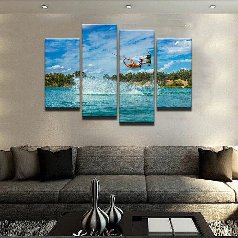 Water Skiing Canvas 4 Pcs Wall Art