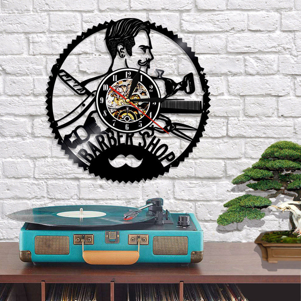 Vinyl Record Wall Clock - Barber Style