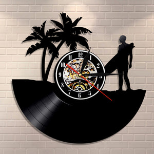 Vinyl Record Wall Clock - Surfing Style