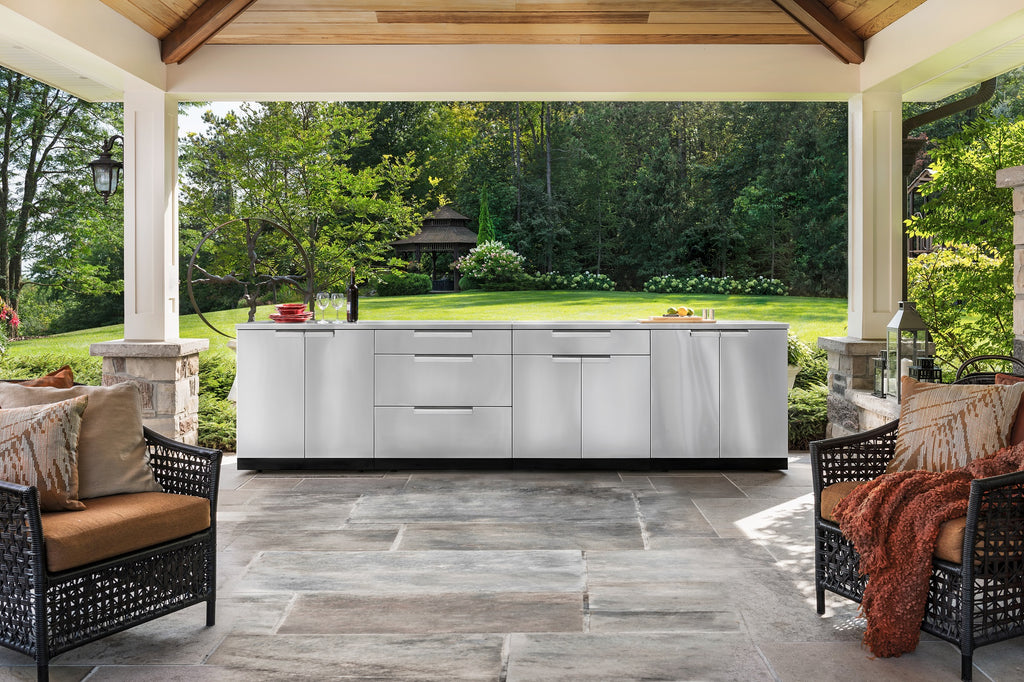 "Classic Stainless Steel / Include Countertops / 33"" Grill Cabinet"