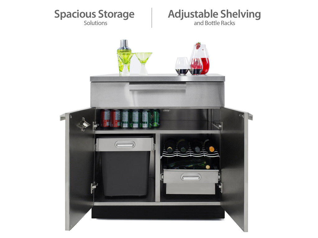 "Classic Stainless Steel / Include Covers & Countertops / 33"" Grill & Grill Cabinet"