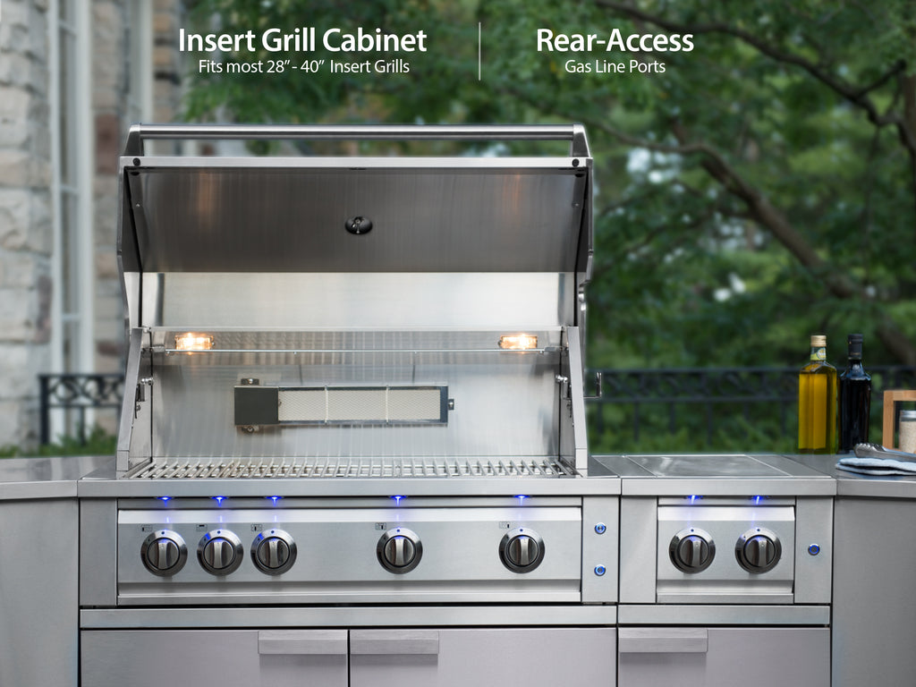 "Classic Stainless Steel / Include Countertops / 40"" Grill & Grill Cabinet"