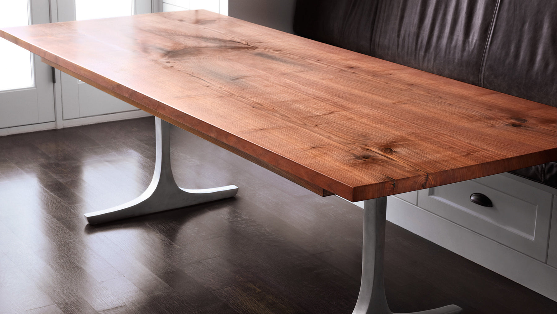 Straight Edge Walnut Table