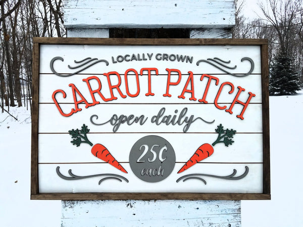 Spring Carrot Patch Farmhouse Sign | Easter Sign with Raised Lettering and Shiplap
