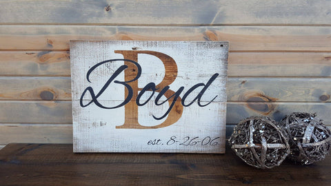 Personalized Last Name Rustic Established Barn Board Sign