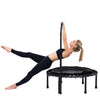 Image of SkyBound Nimbus Rebounder trampoline with adjustable handle-bar woman holding the hand rail