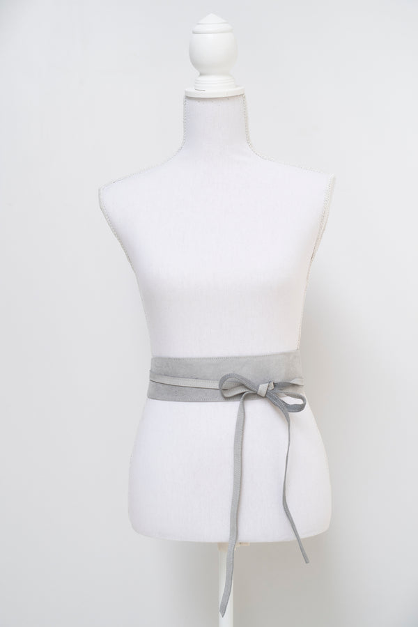 Wrap around waist belt - camel leather - grey