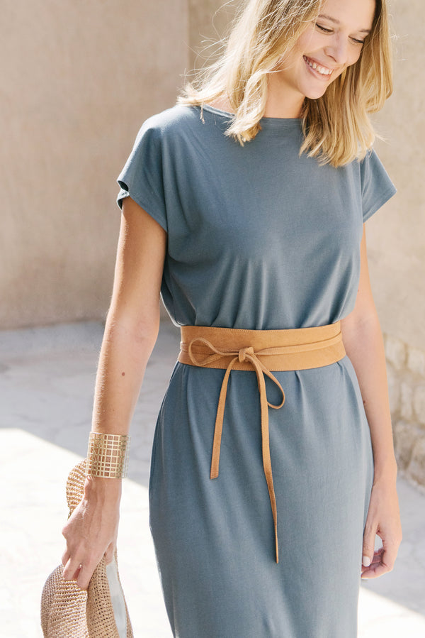 Wrap around waist belt - camel leather - tan
