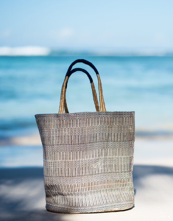 jute bag, beach, shopper, blue, ikat, dubai, resort wear, fair trade, biodegradable, bag, pool bag, empowering women,sustainable fashion, uae, resort, beach, bag, tote, eco friendly, handmade