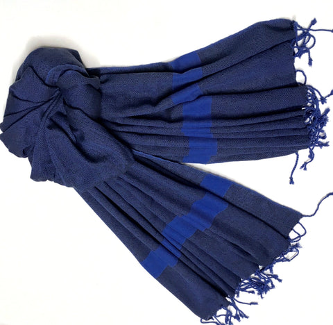 Indigo Blue & Black Cotton Shawl - surfaced