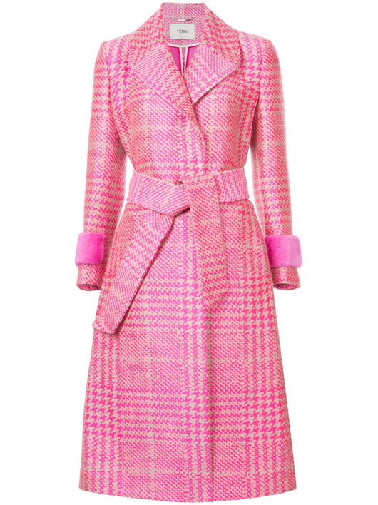 Pop prince of wales coat w/mink cuffs