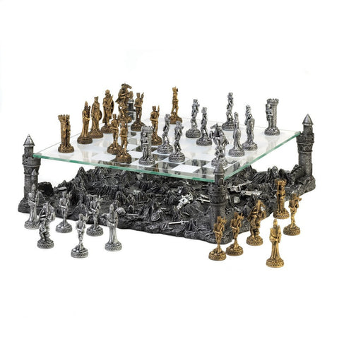 Sage Arcade Dragon Crest Warrior Medieval Glass Kingdom Chess Set Chess Dragon Crest