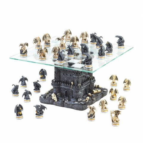 Sage Arcade Dragon Crest Black Tower Dragon Glass Chess Set Chess Dragon Crest