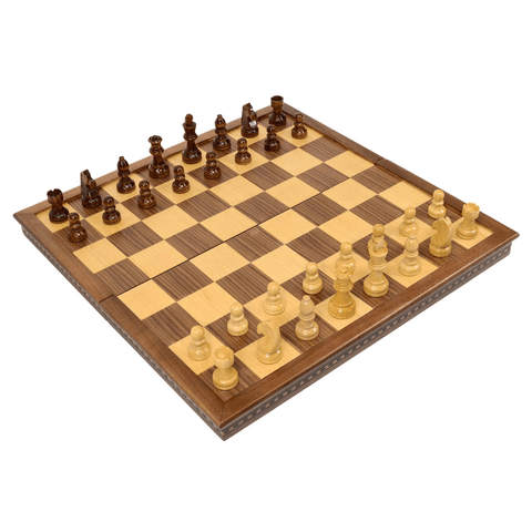 "Sage Arcade Handmade 20"" Folding Walnut Wood Chess Set w/ Felt Storage Bag Chess WBG"