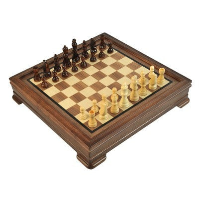 Sage Arcade 5-in-1 Walnut & Maple Chess, Checkers, Backgammon, Cribbage and Dominoes Game Wooden Set Chess WBG