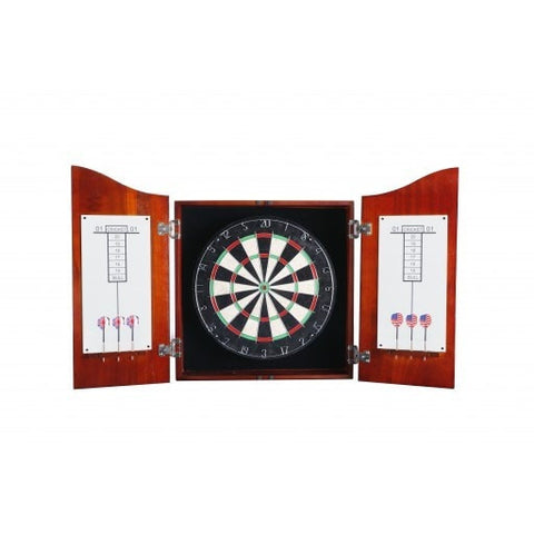 Sage Arcade Centerpoint Solid Wood Dartboard & Cabinet Set - Cherry Finish Darts Carmelli