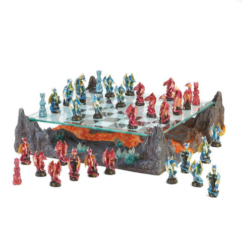 Sage Arcade Dragon Crest Fire River Dragon Red Blue Chess Set Chess Dragon Crest