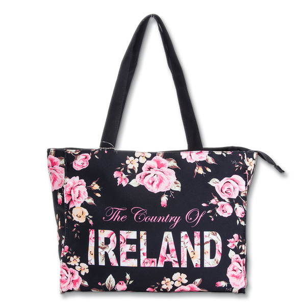 Ireland Floral Shopper - Large - Black, White or Green