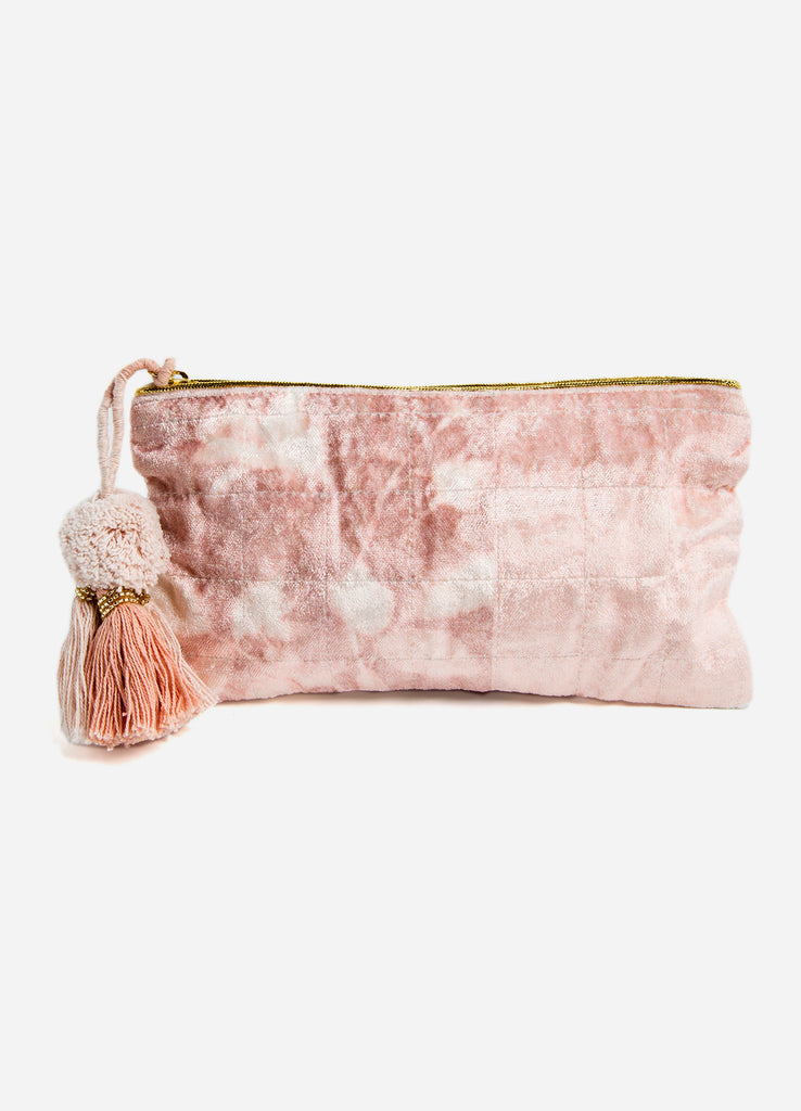 Mauve Bouquet Velvet Medium Pouch