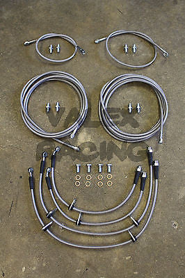 Complete Front & Rear Brake Line Replacement Kit 92-95 Honda Civic w/rear disc