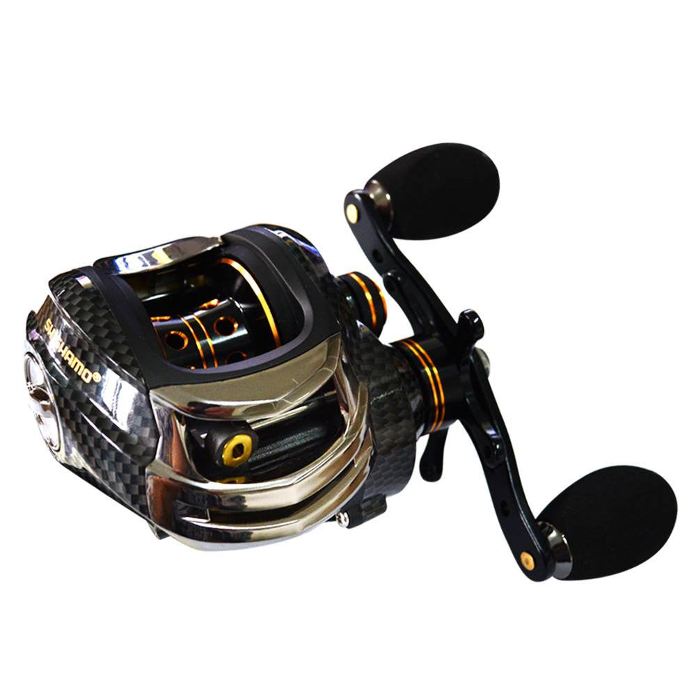 FISHING BAITCASTING REEL 18 BB BALL BEARINGS DOUBLE BRAKE SYSTEM LEFT/RIGHT HAND CASTING