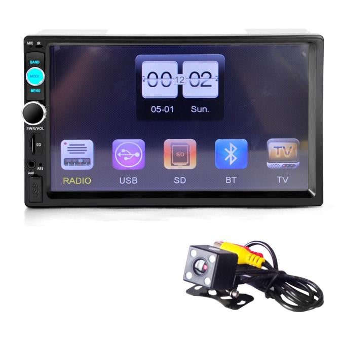Bluetooth Car Stereo Audio In-Dash Aux Input Receiver SD/USB MP5 Player + Camera