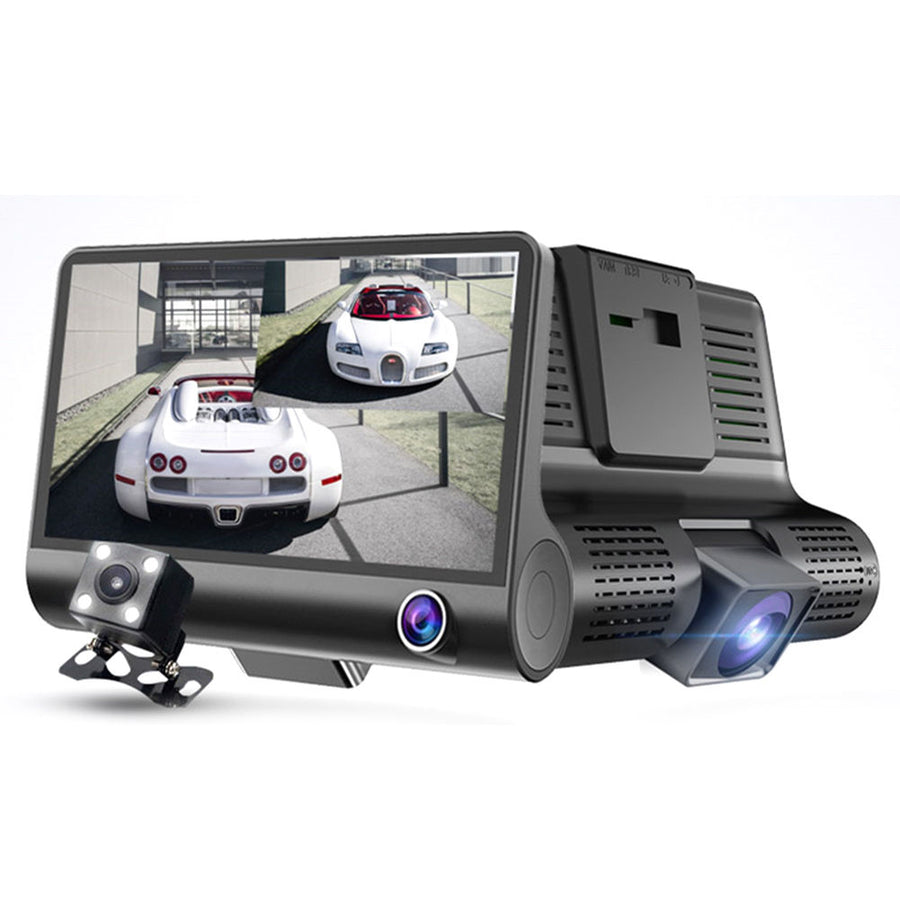 1080P Dual Lens Dashcam w/ Rear View Back Up Monitor