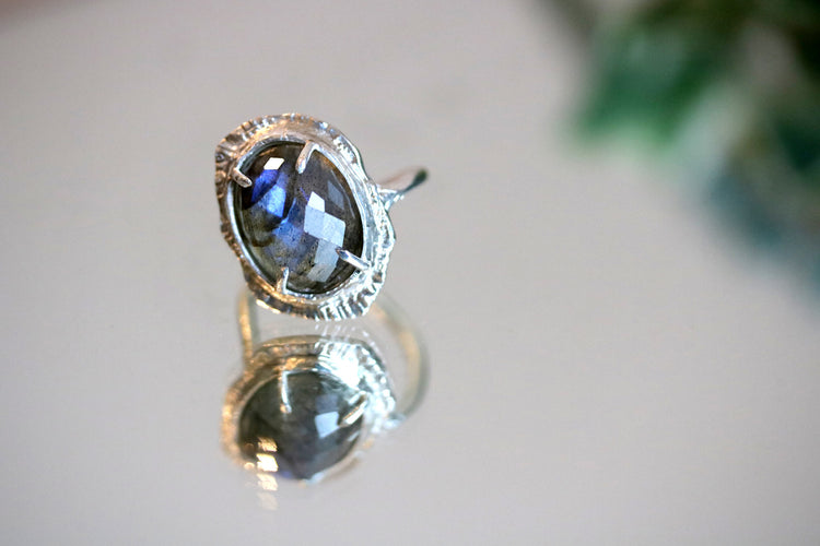 Labradorite Halo Ring