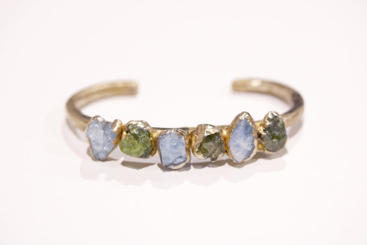 Raw Aquamarine Peridot Dreamer Cuff Bracelet-SAMPLE SALE
