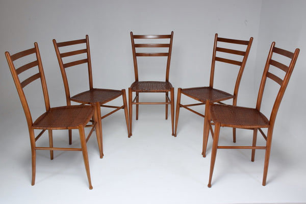 French Vintage Cane Dining Chairs, Set of Five 1930's - Spirit Gallery