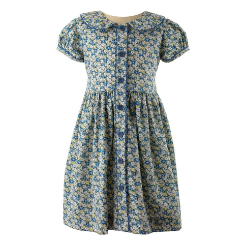 Blue Ditsy Floral Button Front Dress