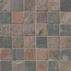 "Slate Tile Collection Multi Classic 2""x2"" In 12""x12"" Mesh - FloorLife"
