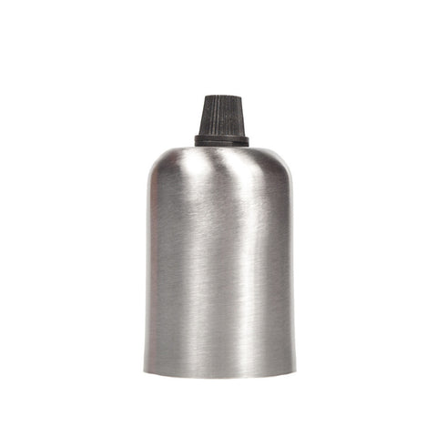 Lampholder - E27 Brushed steel drop cap with grip