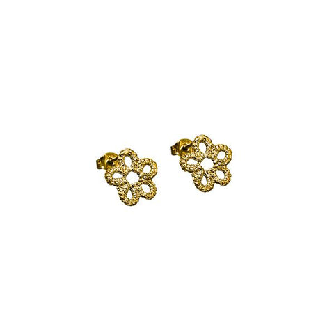Forget-Me-Not Flower Earrings Gold