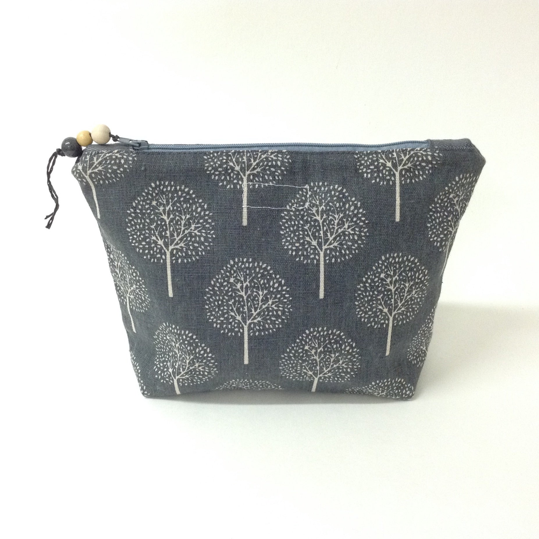 Grey Tree Print Pouch - Large