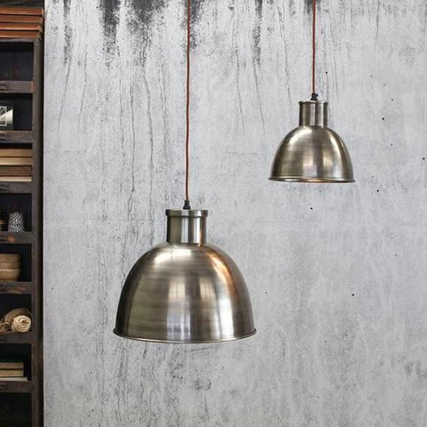 Aged silver dome pendant lampshade