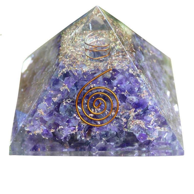 Orgonite Pyramids with Amethyst Crystals