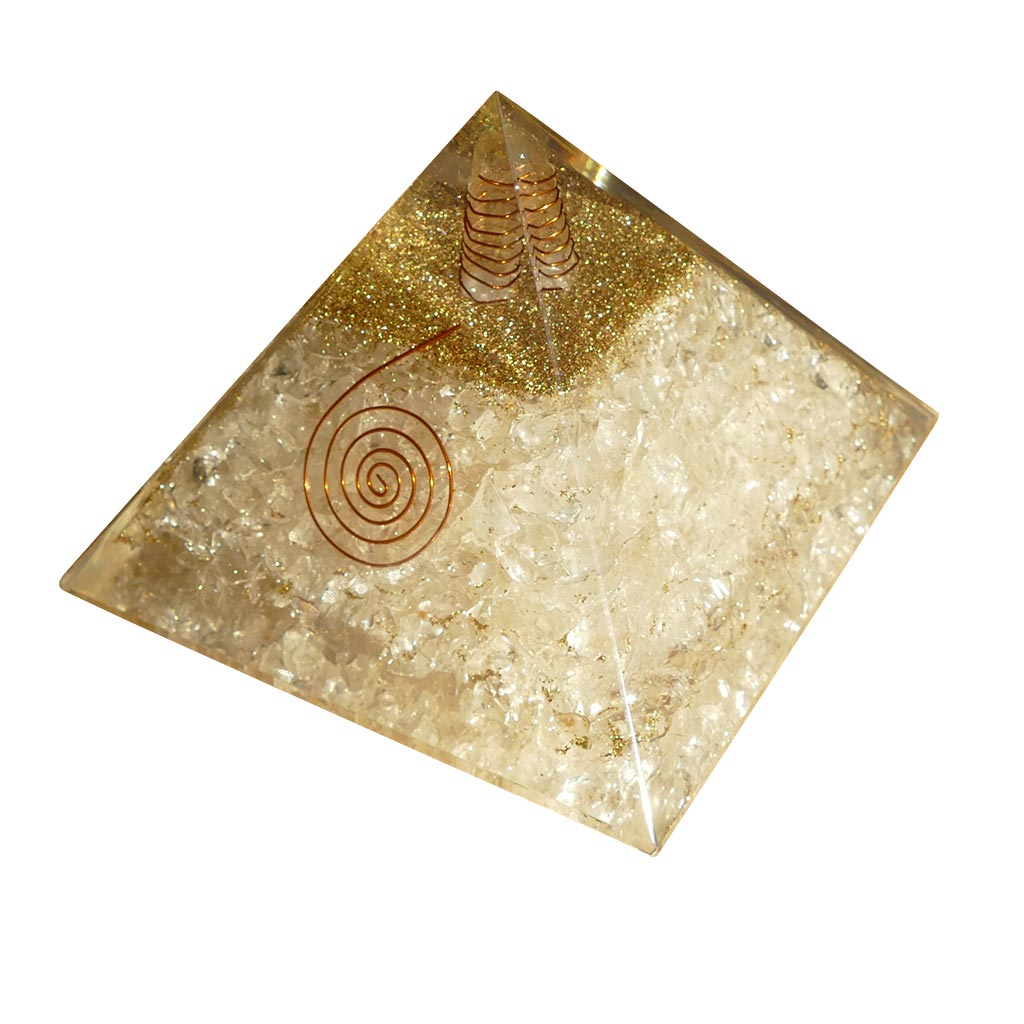 large orgonite pyramid with clear quartz crystals