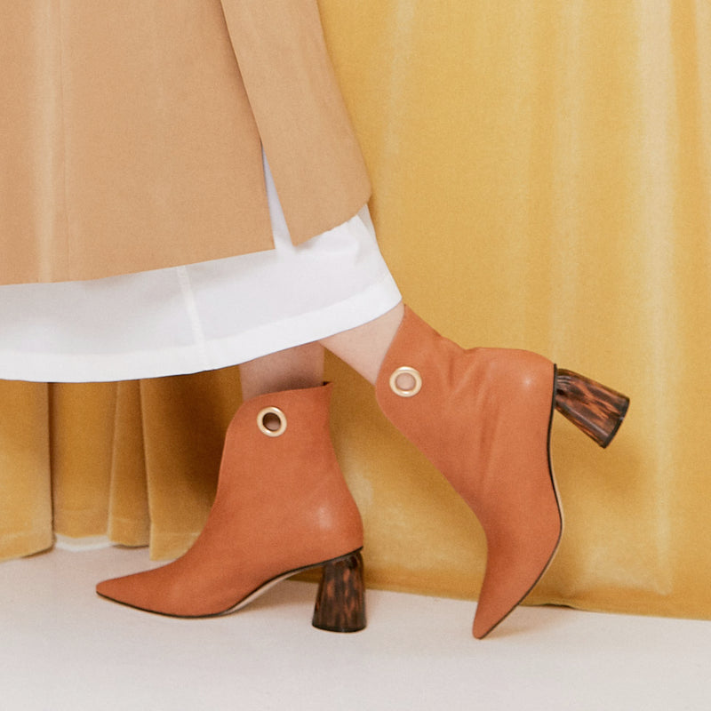 LAGARDE Leather Ankle Boots - Tan