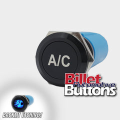 19mm 'A/C' Billet Push Button Switch Air conditioning Aircon air