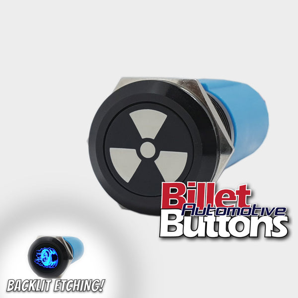 19mm 'NUCLEAR SYMBOL' Billet Push Button Switch Radiation