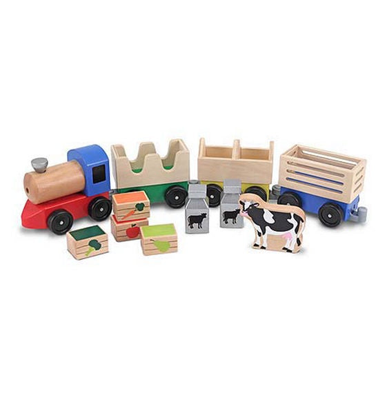 Wooden Farm Train Toy Set  Melissa & Doug